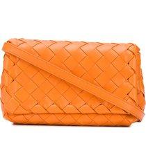 bottega veneta intrecciato mini crossbody bag - orange