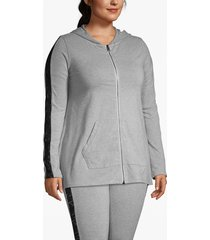 lane bryant women's active lace-sleeve zip-up hoodie 14/16 heather gray