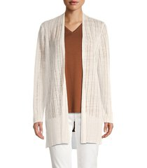 eileen fisher women's striped linen-blend long cardigan - ivory - size xl