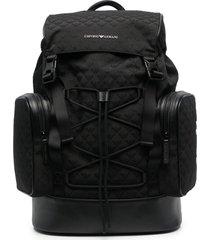emporio armani multi-pocket backpack - black
