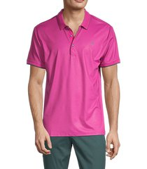 original penguin men's embroidered three-buttoned polo - very berry - size large