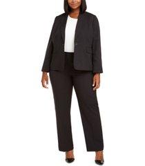 le suit plus size pinstriped single-button suit