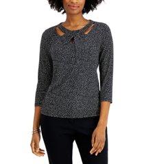 kasper petite dot-print twist-neck 3/4-sleeve knit top