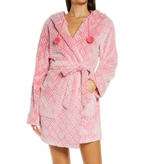 women's honeydew intimates winter night hooded fleece short robe, size small/medium - red