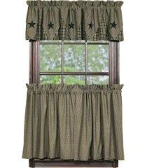 olivia's heartland country primitive vintage star black plaid tier curtains 2szs