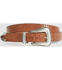 reiss cassidy - leather croc patterned belt in tan, mens, size 36