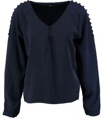only stevige blauwe polyester blouse