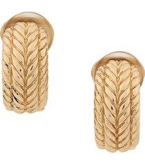christian dior 1970's pre-owned embossed demi-hoop clip-on earrings -