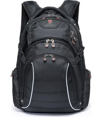 mochila preta masculina executiva c/ capa de chuva swissport