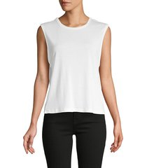 alice + olivia women's sleeveless cotton-blend tank top - white - size m