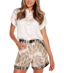 belldini black label palm print belted shorts