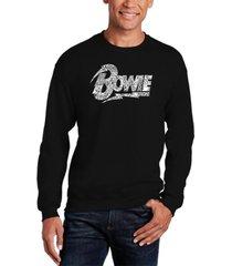la pop art men's david bowie logo word art crew sweatshirt
