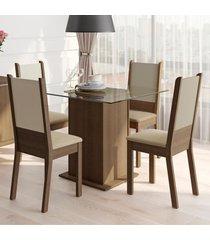 conjunto sala de jantar madesa dara mesa tampo de vidro com 4 cadeiras marrom - marrom - dafiti