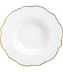 conjunto 6 pratos fundos de porcelana maldivas branco com fio dourado wolff 23cm