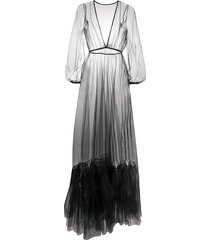 alchemy ruffle-hem tulle maxi dress - black