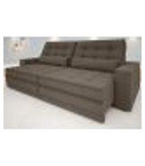 sofá silver 2,20m retrátil e reclinável velosuede marrom - netsofas