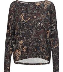 blouse blus långärmad brun ilse jacobsen