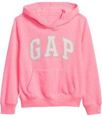 polerón logo con gorro rosa gap