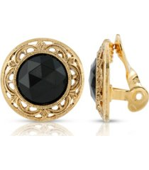 2028 gold tone round black faceted stone clip earrings