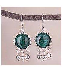 chrysocolla dangle earrings, 'gypsy style' (peru)