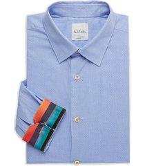 paul smith men's kensington-fit dotted dress shirt - blue - size 15