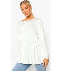 zwangerschap gesmokte top met crewneck en knopen, white