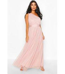 petite premium chiffon one shoulder maxi dress, blush