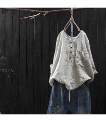 zanzea mujer manga larga cuello en v raya casual suelto liso retro tops blusa tee -blanquecino