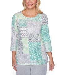alfred dunner petite lake geneva patchwork-print knit top