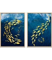quadro 67x100cm oppen house urak oh2 peixe dourado decorativo moldura natural com vidro