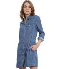 vestido slim tencel azul calvin klein