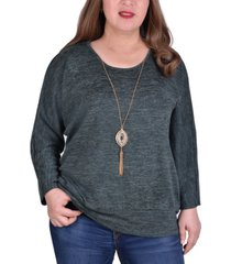 ny collection women's plus size banded bottom tunic with necklace
