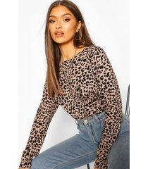 leopard knitted top, camel