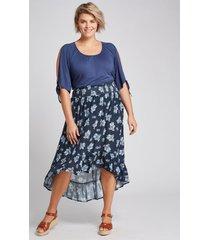 lane bryant women's smocked-waist high-low maxi skirt 28 blue floral