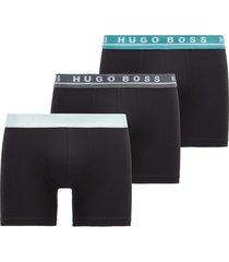 hugo boss 3-pack boxershorts boxer brief - zwart/groen