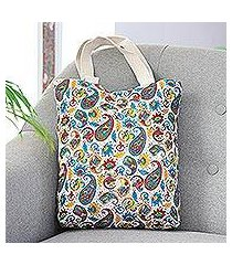 cotton canvas printed tote, 'proper paisley' (india)