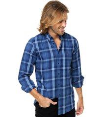 camisa azul tommy hilfiger slim fit einston chk twill sf2