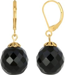 2028 gold-tone black bead drop earring
