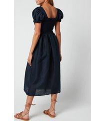 sleeper women's belle linen dress - navy - l