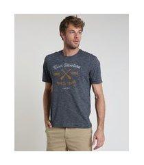 "camiseta masculina comfort fit river adventure"" manga curta gola careca azul marinho"""