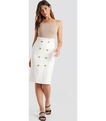 trendyol button midi skirt - white