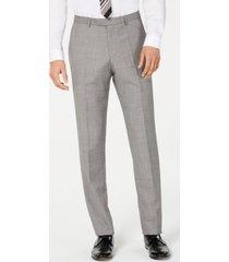 hugo hugo boss men's slim-fit light gray crosshatch suit pants
