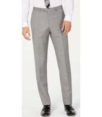 hugo men's modern-fit light gray crosshatch suit pants