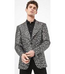 mk giacca in lana jacquard con stampa leopardata e metallizzata - argento (argento) - michael kors