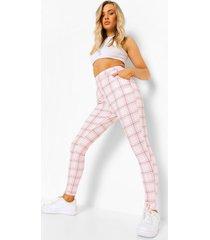 pastel geruite skinny fit broek, pink