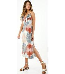 vestido de mujer, silueta amplia midi con estampado étnico