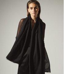 reiss alex - oversized wool scarf in black, womens