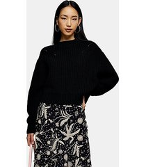 black balloon sleeve sweater - black