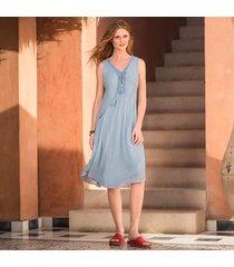 lace up cotton midi dress