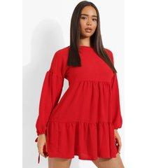 gesmokte jurk met lange mouwen, red